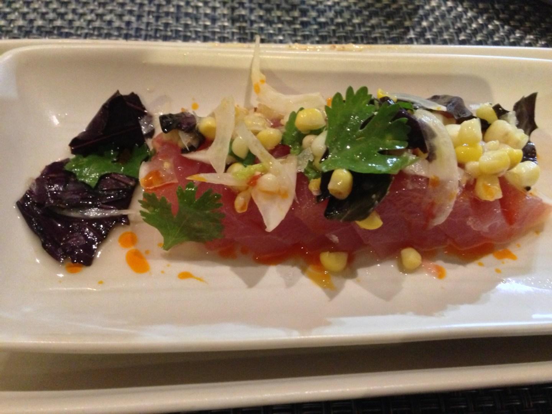 Tuna, fennel, tomato water and corn