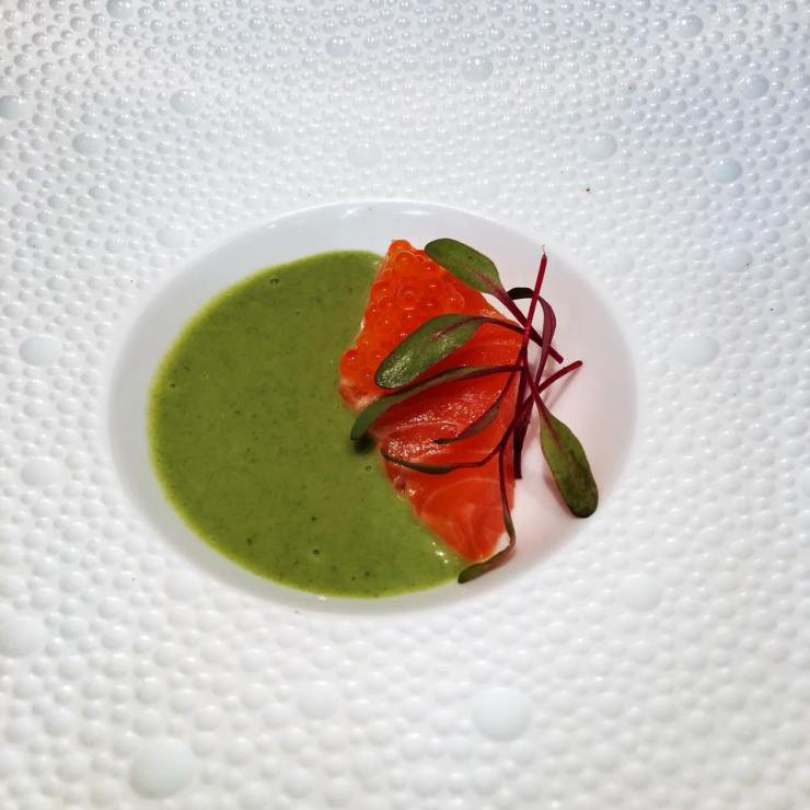 Green tomato soup, Norwegian trout, and dill oil