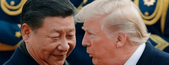 U.S. President Donald Trump chats with Chinese President Xi Jinping James Alexander Michie