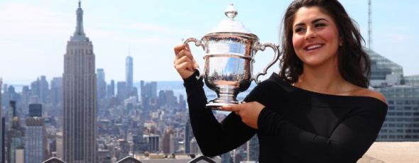 Bianca Andreescu of Canada poses with her trophy at the Top of the Rock in Rockefeller Center The Province | James Alexander Michie