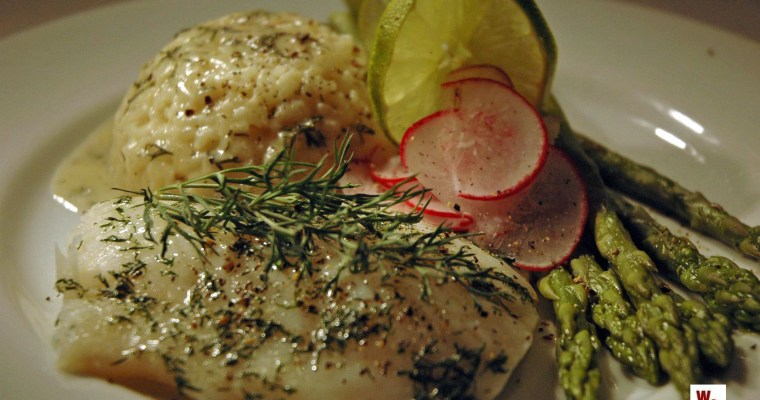 Baked Cod with White Wine Dill Sauce