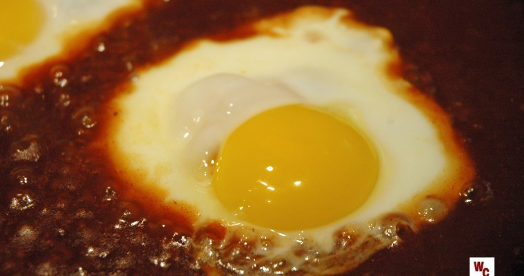 Eggs Poached in Enchilada Sauce
