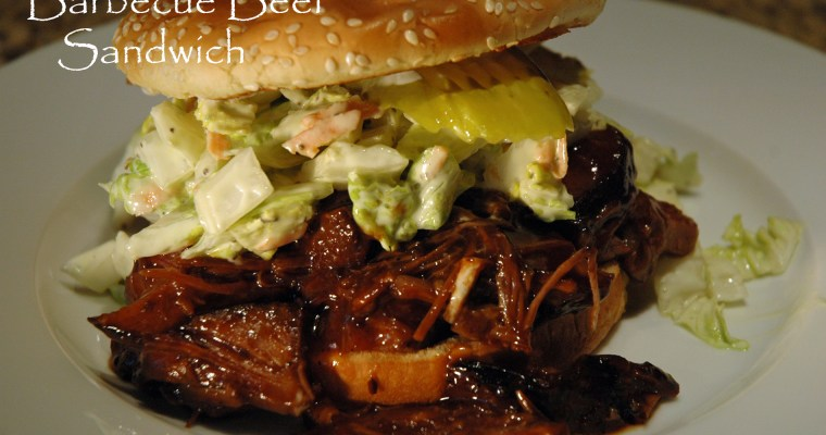 Barbecue Beef Sandwich with Napa Cabbage Slaw