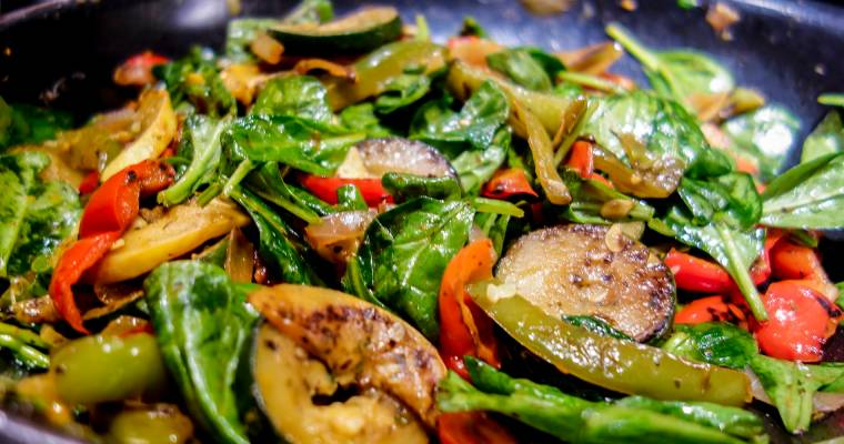 Sauteed Italian Vegetables with Wilted Spinach