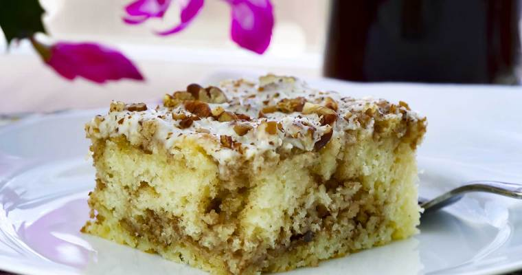 Cinnamon Roll Coffee Cake with Toasted Pecans