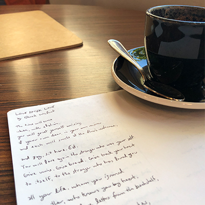 A page from my writing practice at the local coffee shop.