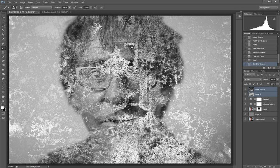 Wet plate collodion effect in Photoshop tutorial step 7