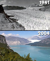a glacier melts