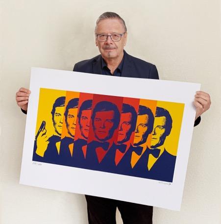 Sérigraphie de Sir Roger Moore par Siegfried Gross