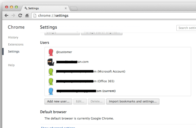 Users in Chrome Settings