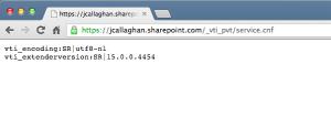 /_vti_pvt/service.cnf output displayed