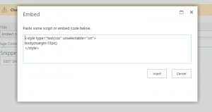 Embed code window