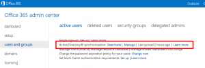 Office 365 Active Directory Sync status