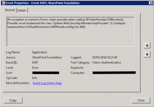 Event 8307. SharePoint Foundation. Claims Authentication.