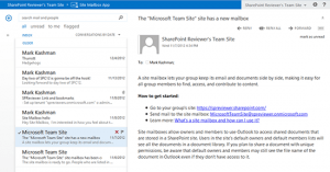 Site Mailbox Created. Credit: Mark Kashman http://blogs.office.com/2013/04/02/whats-new-in-sharepoint-online-top-10/