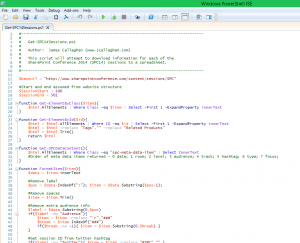 PowerShell script to export all the #SPC14 sessions to Excel