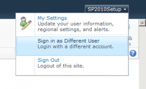 Sign in as Different User in SharePoint 2010