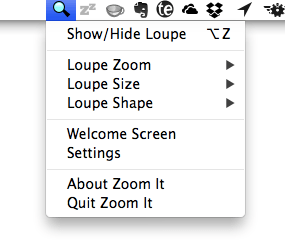 Zoom It toolbar menu
