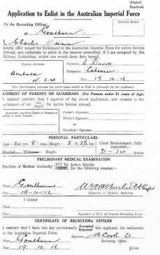 Enlistment application, WW1 for Charles Henry Dunn