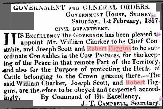 Robert Higgins as Constable mentioned in the Sydney Gazette Saturday 1 February 1817