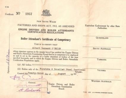 Boiler attendants certificate