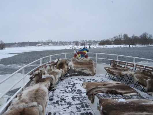 Stockholm winter tour - reindeer skins on board