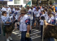 Preparing to march on George Street are those celebrating the Golden Oldies World Rugby Festival