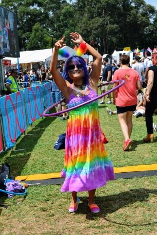 Colourful dancer at Sydney Gay and Lesbian Mardi Gras Fair Day