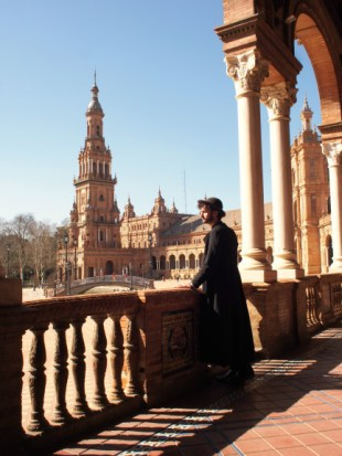 Blending into the man-made beauty of Seville.