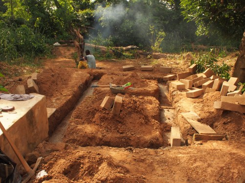 the foundations of the new shower block