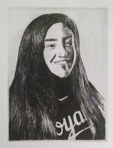 Self portrait, Metal Engraving, 4 x 3