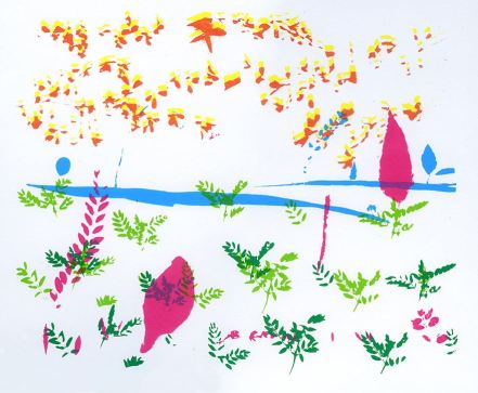Student - Cassity Calhoun, Theme: Found Plants Composition, Screenprint,