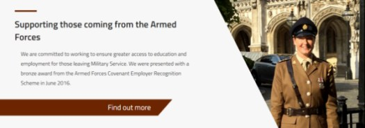 Link to Armed Forces section on Study with us page