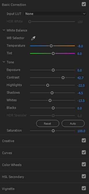 Adobe Premiere CC colour correction