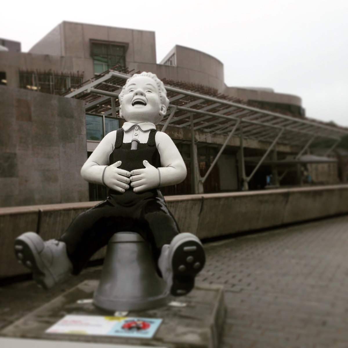 Oor Wullie outside the Scottish Parliament