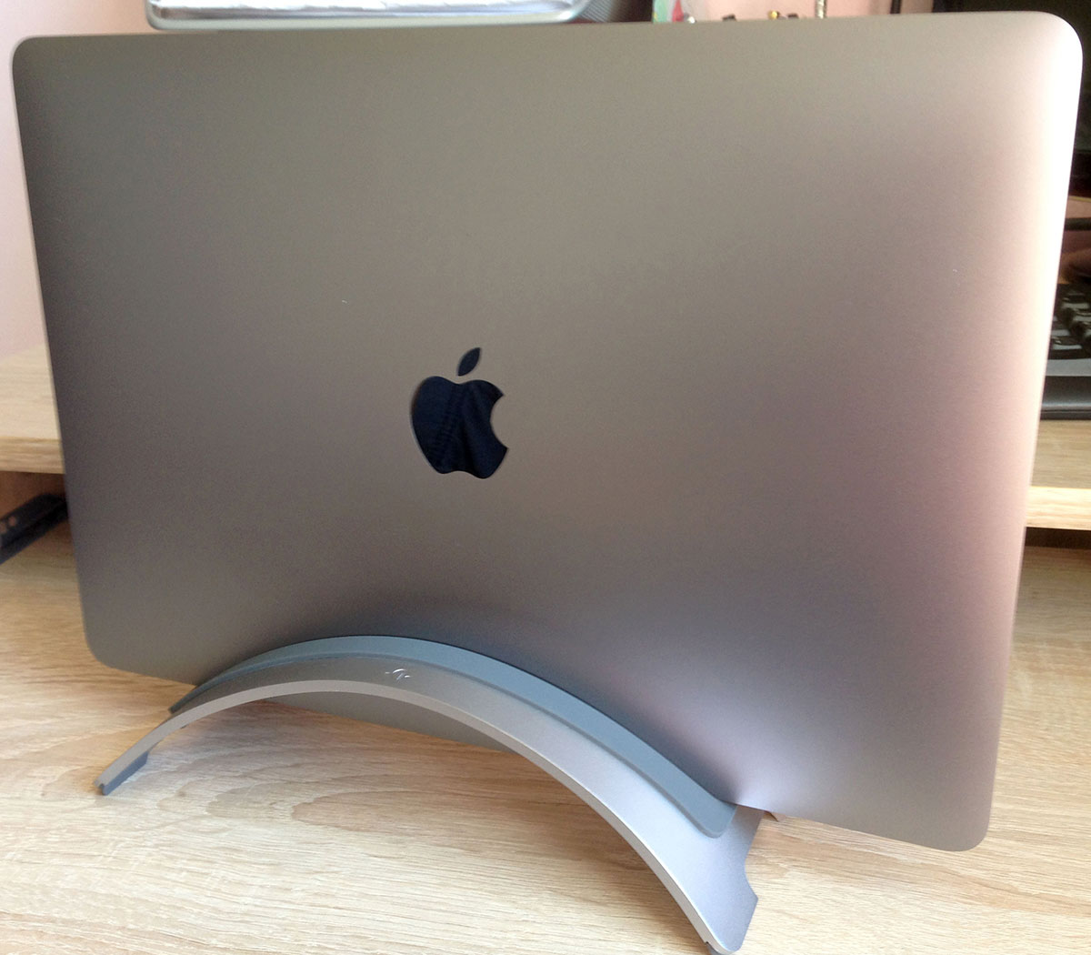 Twelve South BookArc holding MacBook Pro