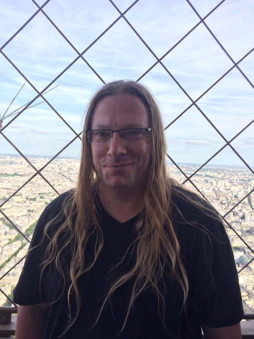 James Garside at the top of the Eiffel Tower