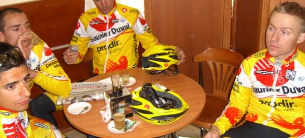 Saunier drinking coffee