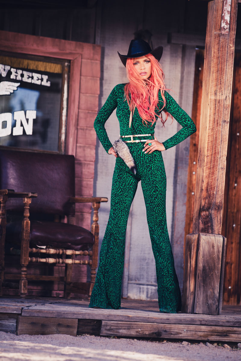 Havana Brown BATTLE CRY. Green reptile suit. Photographer James Hickey.