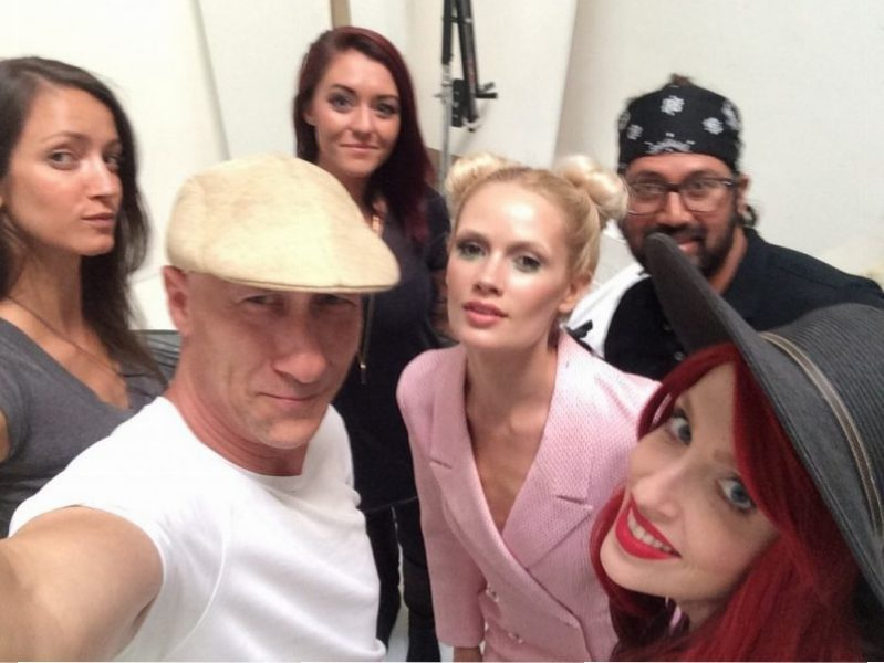 Lauren Bennett and crew Oscar selfie at James Hickey Studio. Pastel and burgundy fashion editorial.