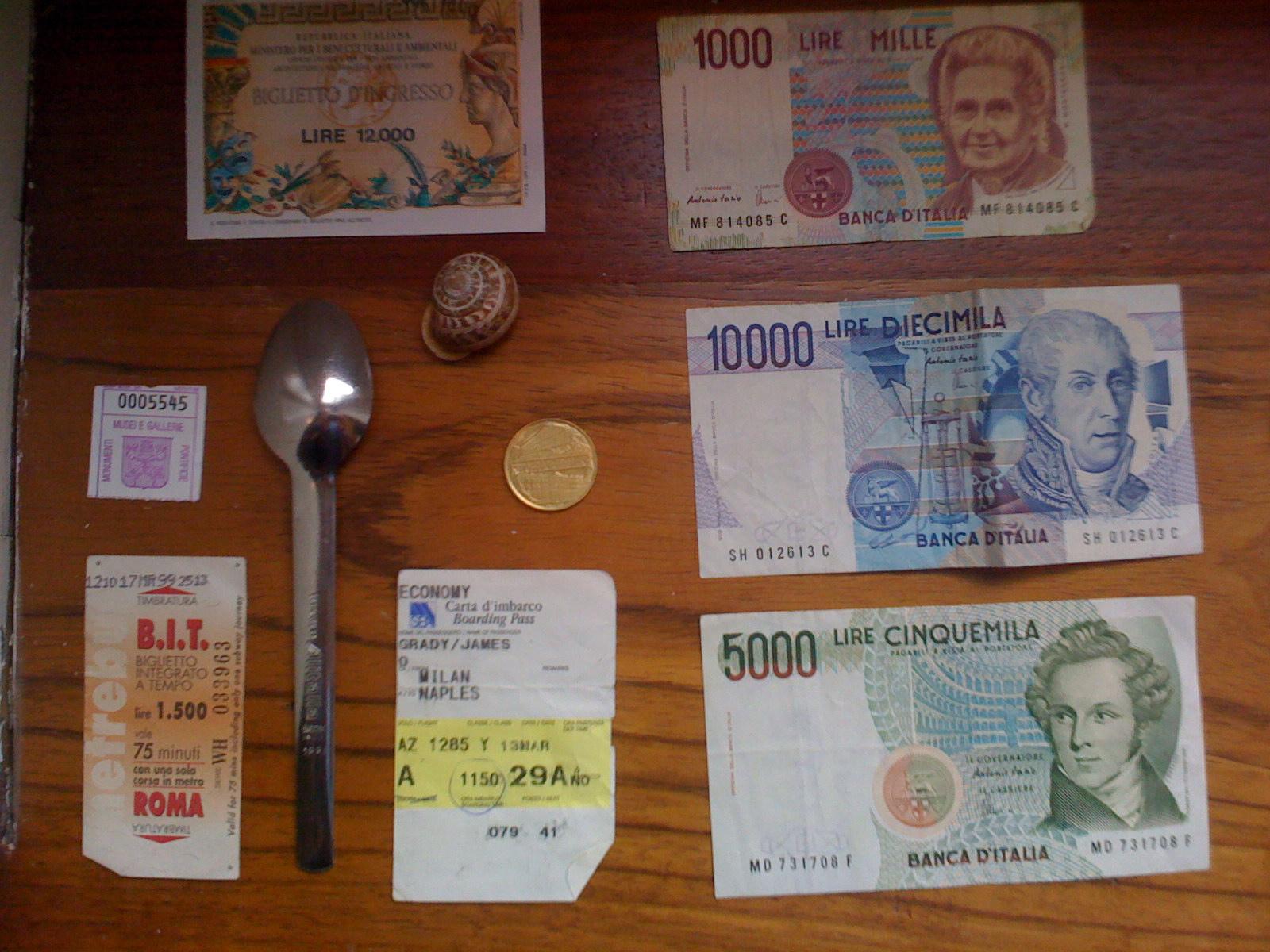 Lira, Alitalia spoon, Alitalia ticket, receipt