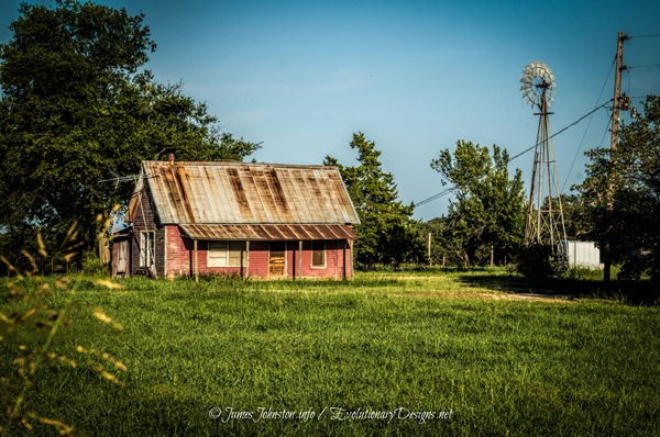 Abandoned Pink Farm House On FM 677 South Of Illinois Bend