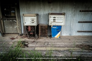 Two Old Gas Pumps - The Abandoned Texaco Building in Bowie, Texas