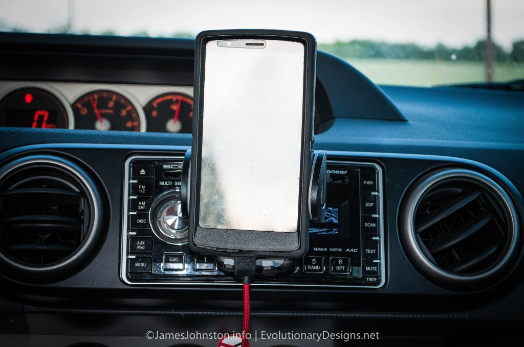 Anker CD Slot Cell Phone Mount - Used in a 2008 Scion XB  and LG G4 with Otterbox Defender Case . See how it blocks the controls of the radio.
