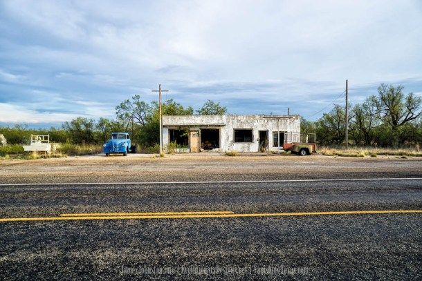 Abandoned Service Station and Truck. - Clairemont, Texas