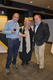JJLS Board members from left, Michael Mullen, Bonnie Culver (outgoing president) and Warren Mason (outgoing treasurer) enjoying the opening reception.