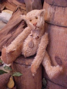 Ol' Boone No. 1- Tea Dyed Mohair Bear with Wobble Joints and Coconut Shell Pendant