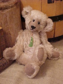 Sugar- Mohair Bear with Wire-wrapped Sea Glass Pendant