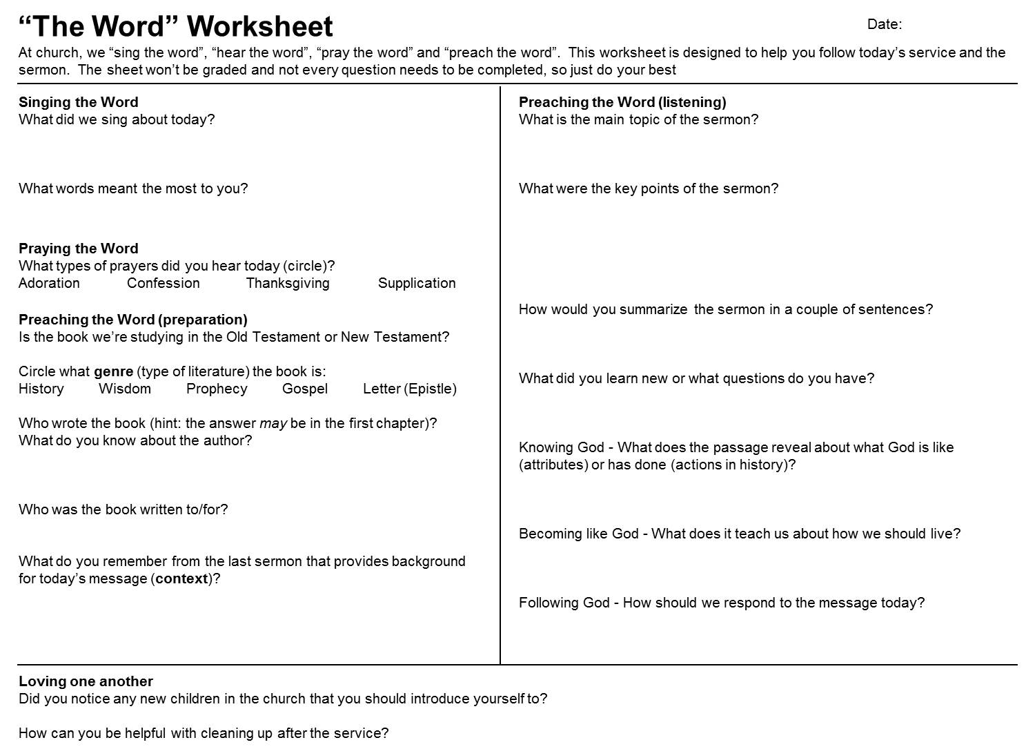 Sermon Study Worksheet