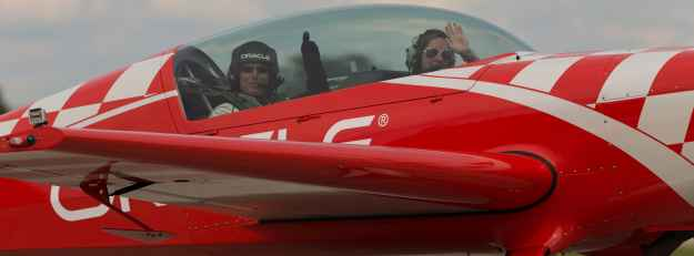 Jim wishing Sean D Tucker, Oracle Acrobatic Pilot, a safe flight.